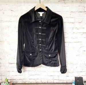 WHBM Black Velvet Military Style Ruffle Hem Blazer